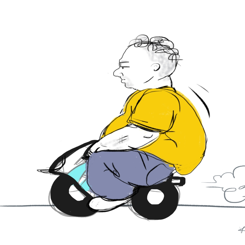 The fat old man on the minibike doesn't give a rat's ass that he looks ridiculous.